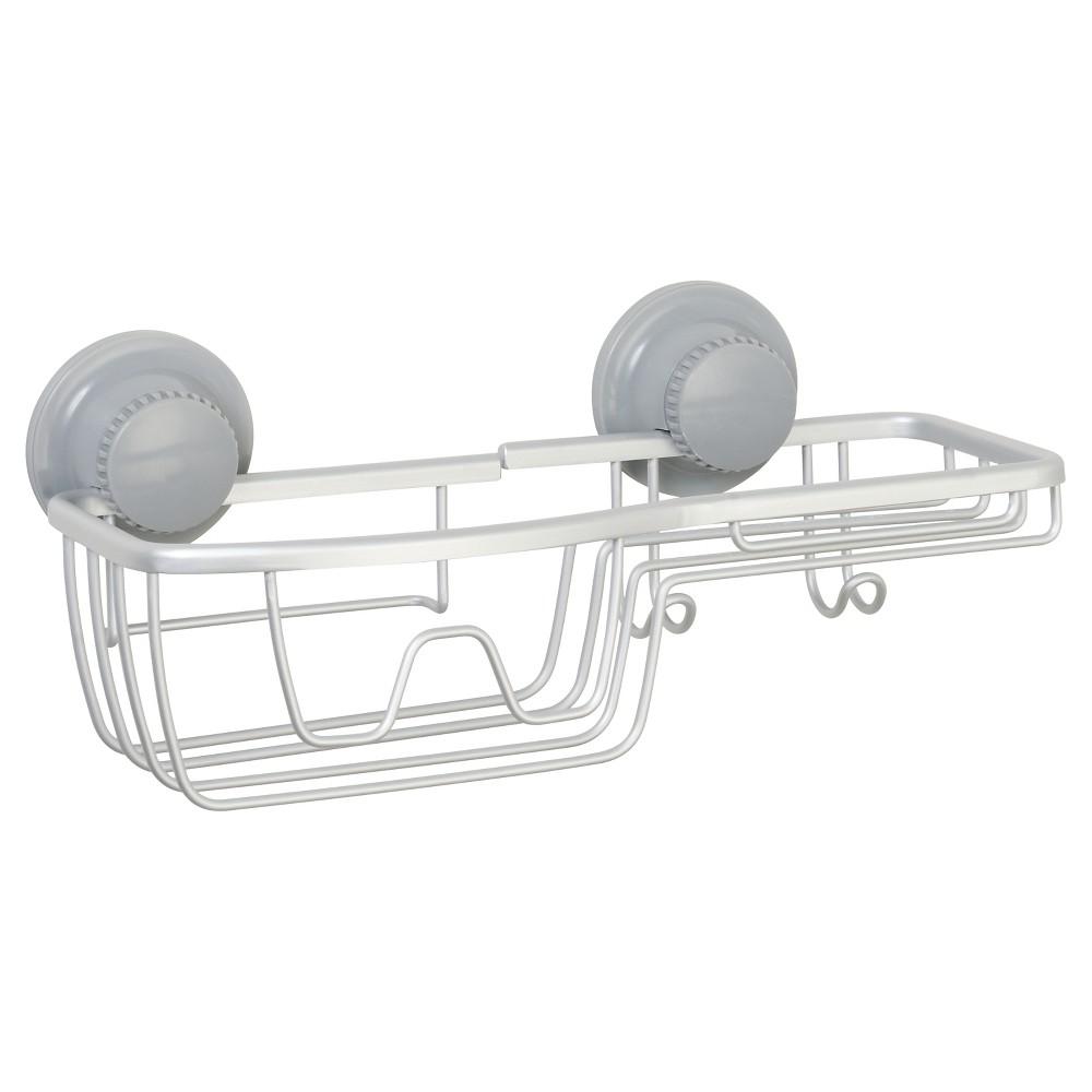 NeverRust Power Grip Aluminum Suction Combo Basket Satin Chrome (Grey) - Zenna Home