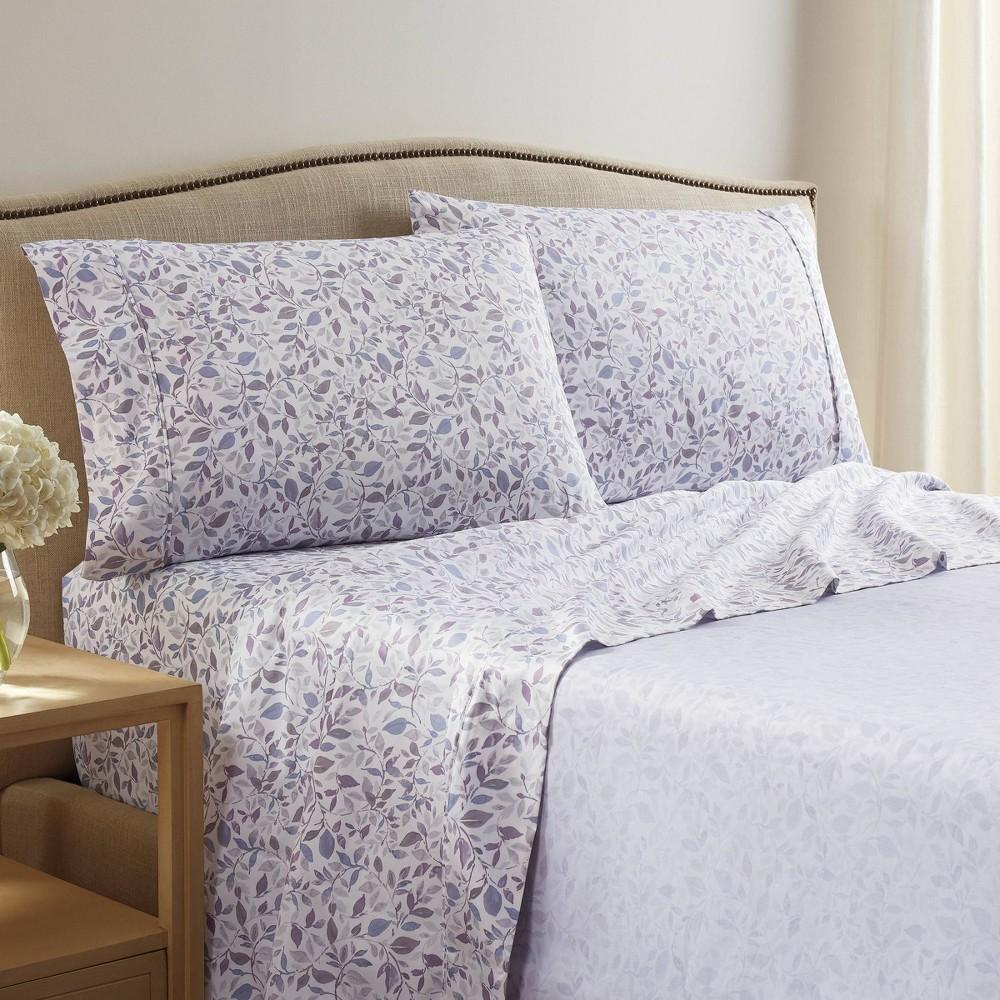 King 400 Thread Count Printed Pattern Sheet Set Purple Vine Martex