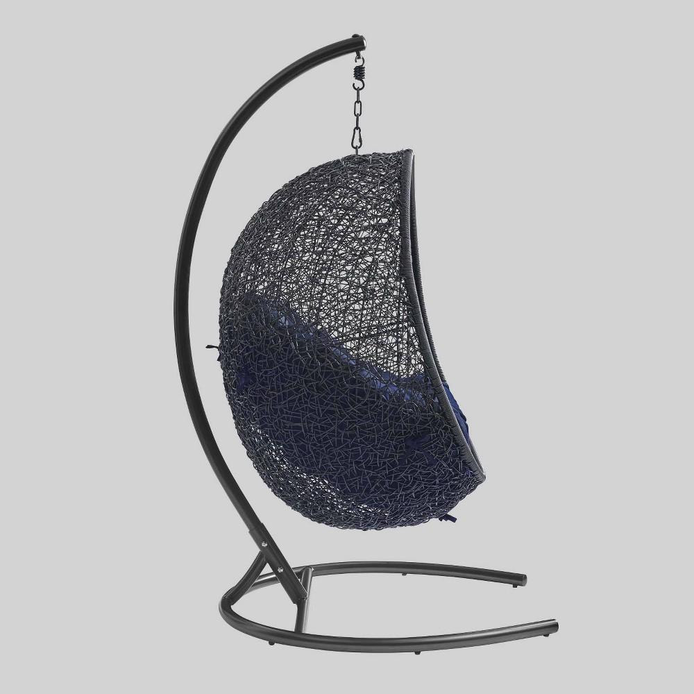 Encase Sunbrella Swing Outdoor Patio Lounge Chair Black Navy Modway