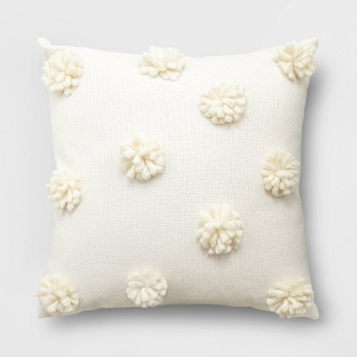 Pom-Pom Square Throw Pillow Cream - Opalhouse™