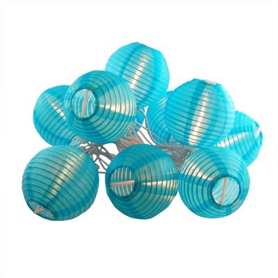 """10ct 3""""Electric String Light with Nylon Lanterns Turquoise"""