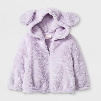 Baby Girls' Front Zip Fleece Puppy Hoodie - Cat & Jack™ Purple 3-6M