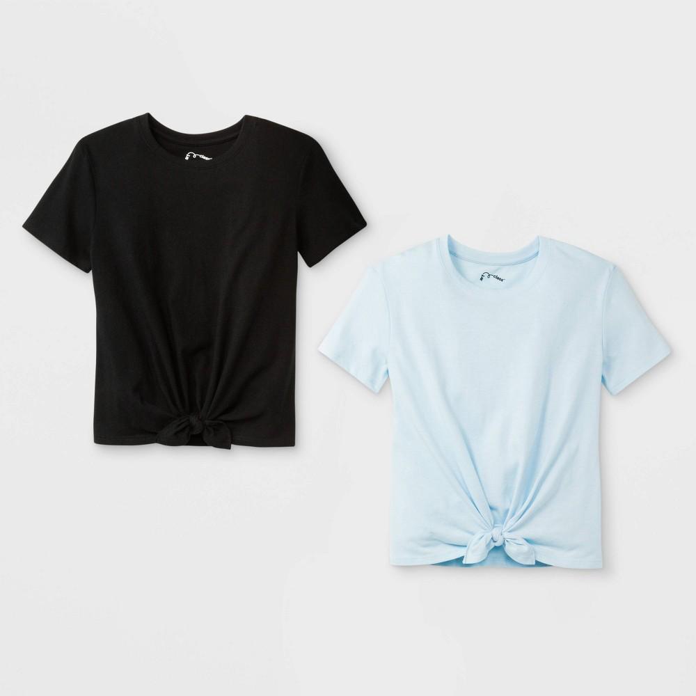 Girls' Short Sleeve Tie Front 2pk T-Shirt - art class Light Blue/Black L