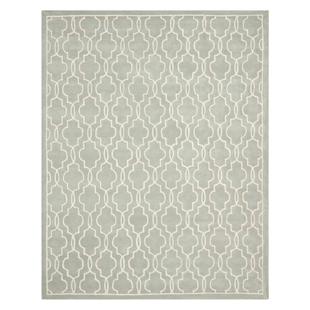 9 X12 Quatrefoil Design Tufted Area Rug Gray Ivory Safavieh