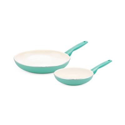 GreenPan Rio 8  and 10  Ceramic Non-Stick Cookware Set Turquoise