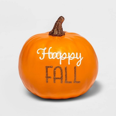 "Small ""Happy Fall"" Orange Decorative Harvest Pumpkin - Spritz™"