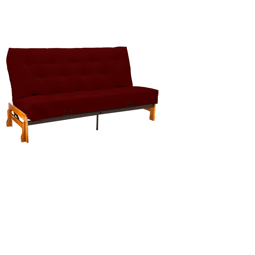 Low Arm 8 Cotton & Foam Futon Sofa Sleeper Oak Wood Finish - Epic Furnishings, Twill Red