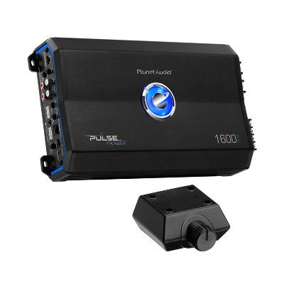 Planet Audio Pulse 1600 Watt 4 Channel 2 to 8 Ohm Full Range Class A/B Car Audio Amplifier with Remote Subwoofer Control and Thermal Protection