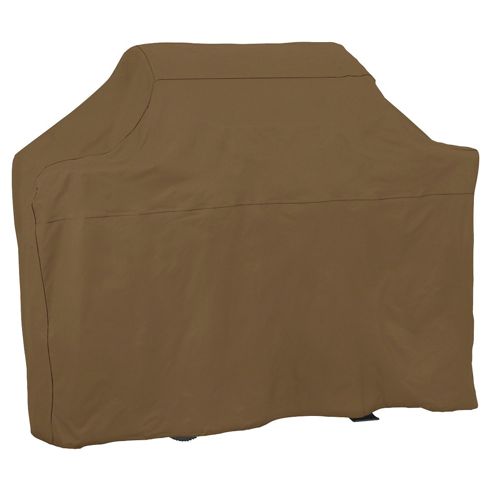 Universal 72  Grill Cover - Threshold , Brown The Threshold 72 inch BBQ grill cover provides protection against the elements while adding style to any backyard. This neutral yet fashionable cover comes with easy to use tie straps for a neat fit and keeps the cover in place during windy conditions. Not only will this cover protective your grill in all types of weather, it will also make sure you're ready to use your outdoor grill whenever you want, saving time spent cleaning or transporting from storage. Protect your outdoor BBQ grill with a Threshold 72 inch BBQ grill cover to prolong the life of your grill and ensure you're always ready to start cooking. Color: Brown.