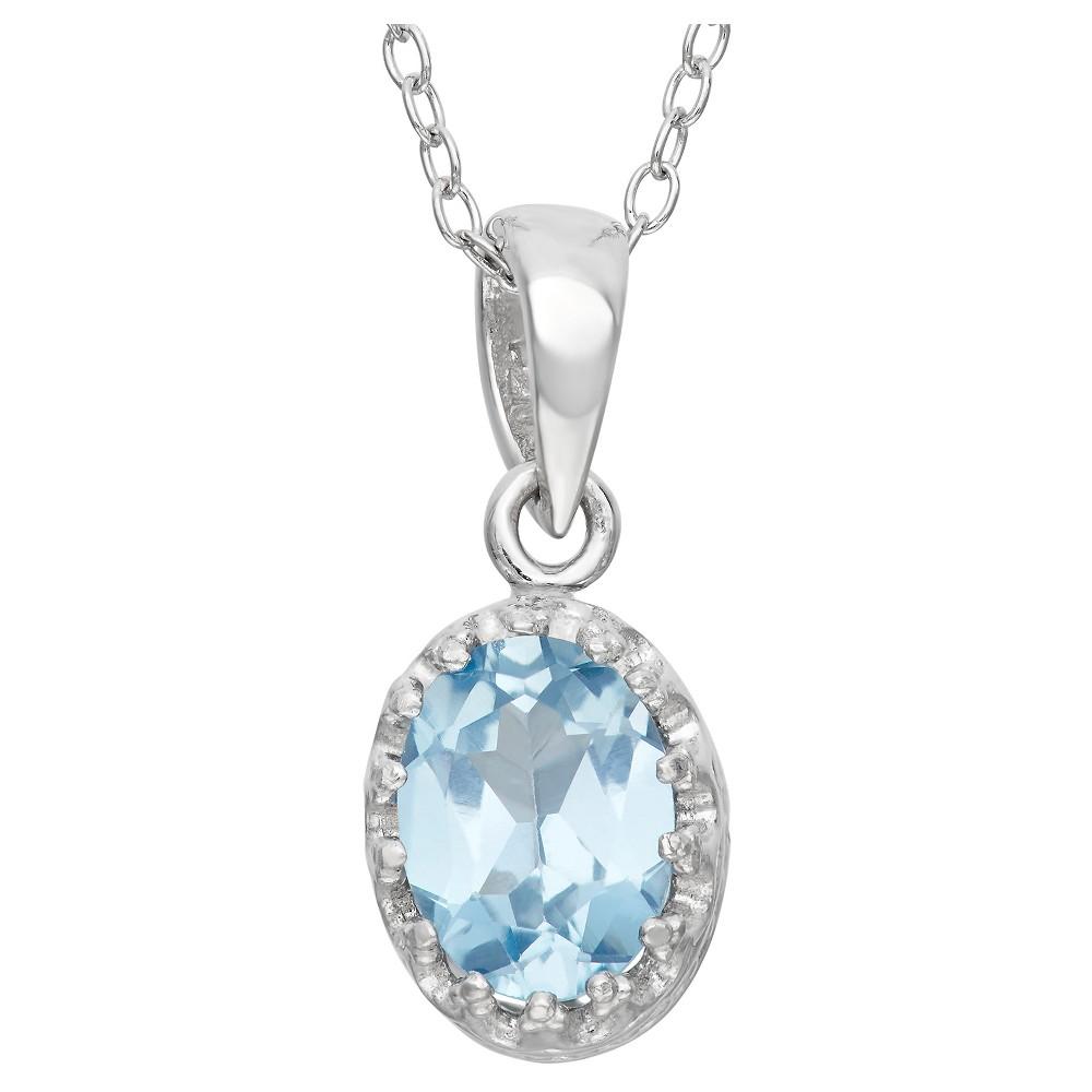 1 1/5 Tcw Tiara Aquamarine Crown Pendant in Sterling Silver