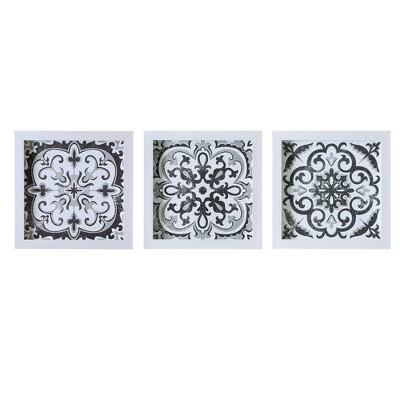 "(Set of 3)12"" x 12"" Tiles Deco Box Wall Art Black/White"
