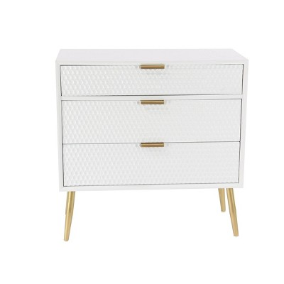 Modern 3 Drawer Wooden Chest with Knob Pulls White - Olivia & May