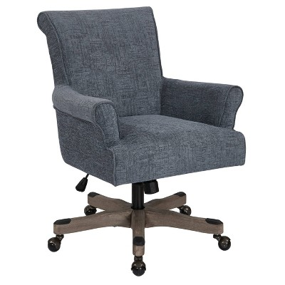 Megan Office Chair with Gray Wash Wood Navy - OSP Home Furnishings
