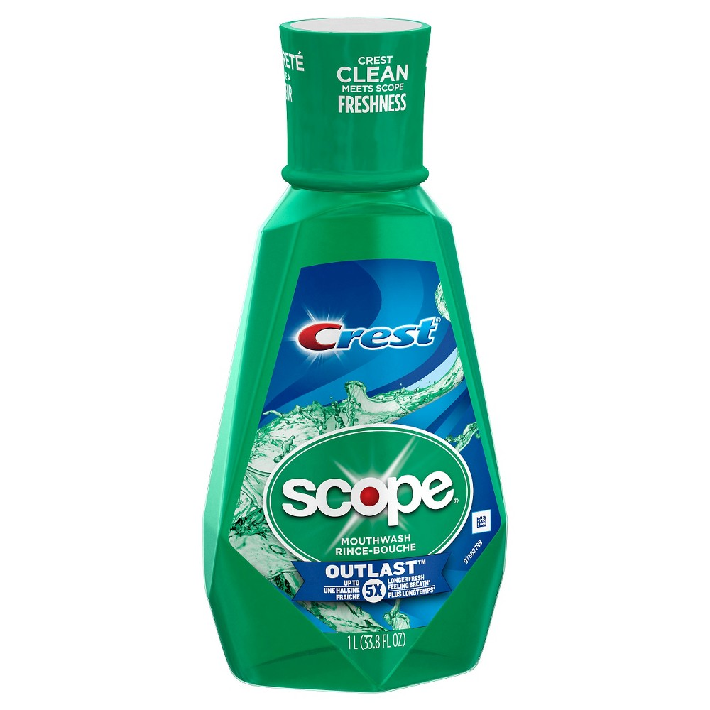Crest Scope Outlast Mouthwash For Bad Breath - 1L, Blue