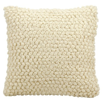 Ivory Thin Group Loops Throw Pillow (20 x20 )- Nourison