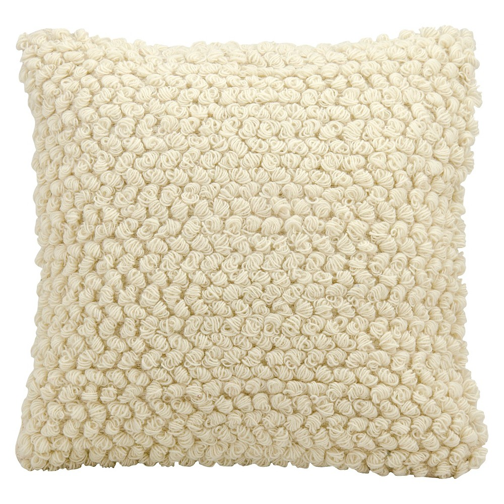 "Image of ""Ivory Thin Group Loops Throw Pillow (20""""x20"""") - Nourison"""