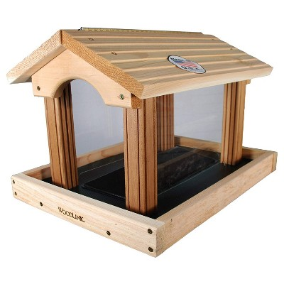 Woodlink 24371 PRO4 Premier Large Capacity Ranch Style Red Cedar Wood Outdoor Bird Seed Feed Feeder, 11 Pound