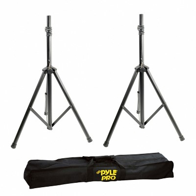Pyle Adjustable Height Foldable Aluminum Stage and Studio Pro DJ PA Speaker Tripod Floor Stands with Travel Bag, Black (Set of 2)