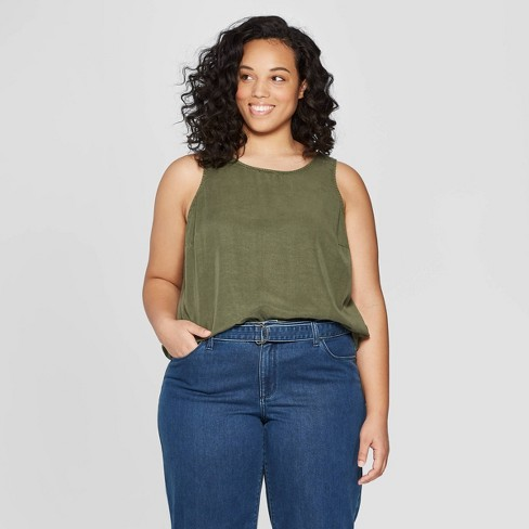 5ce54a7ef916e Women s Plus Size Sleeveless Crew Neck Button Back Tank Top - Universal  Thread™ Olive