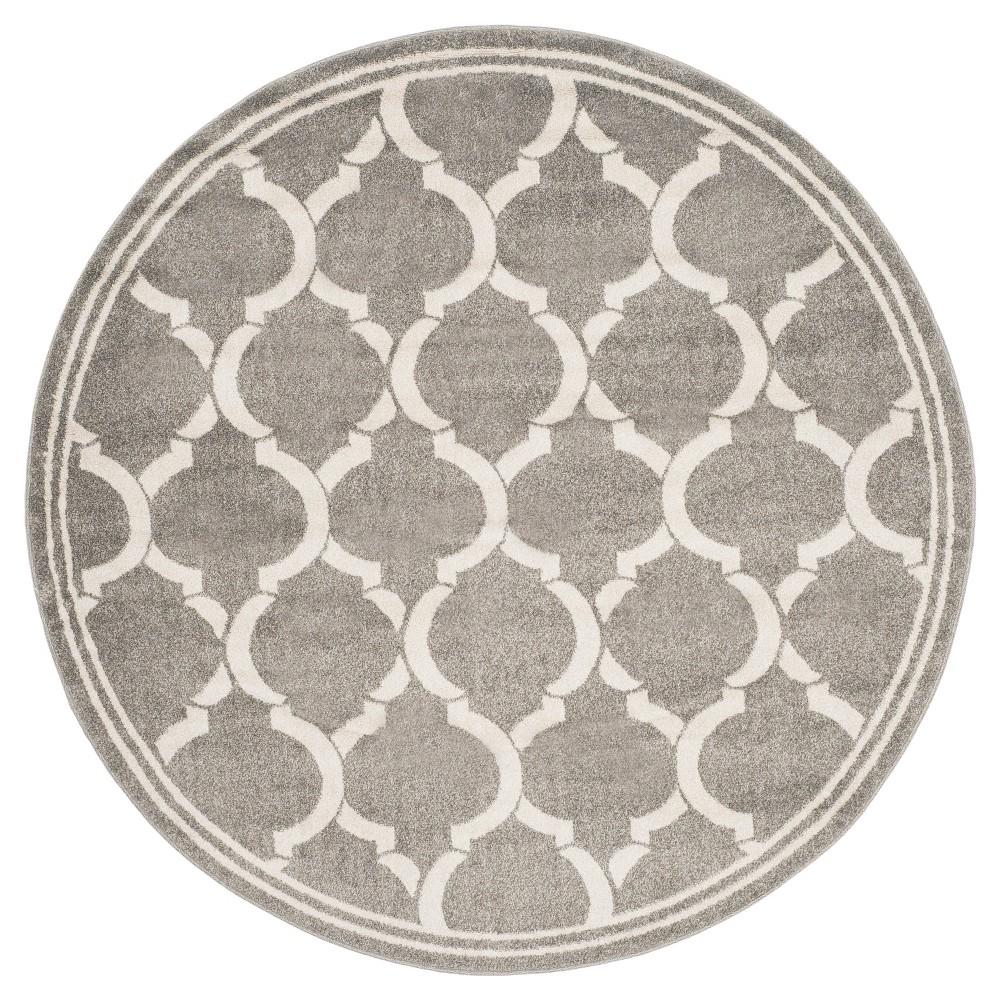 Dark Gray/Beige Geometric Loomed Round Area Rug 7' - Safavieh