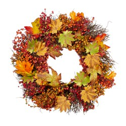Northlight Maple Leaf and Berry Twig Artificial Wreath, Orange 22-Inch