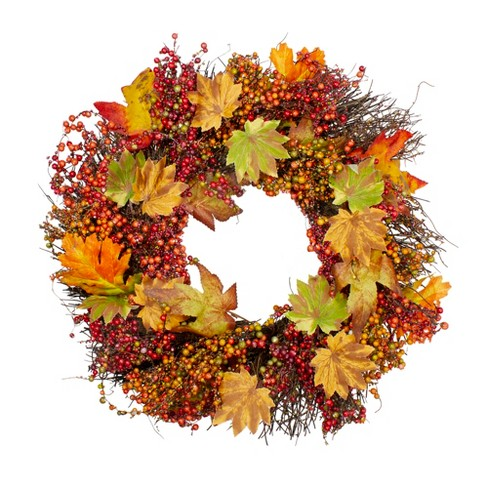 Northlight Maple Leaf and Berry Twig Artificial Wreath, Orange 22-Inch - image 1 of 3
