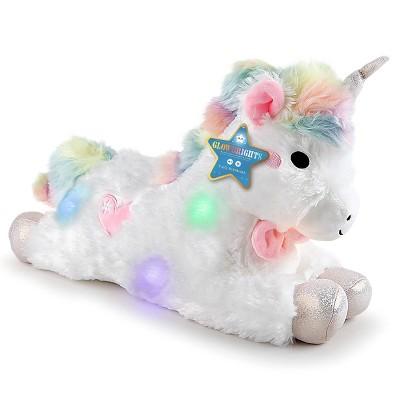 """FAO Schwarz Glow Brights Toy Plush LED with Sound - 15"""" Unicorn"""