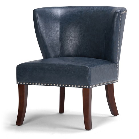 Brennan Accent Chair Denim Blue Bonded Leather - Wyndenhall - image 1 of 4