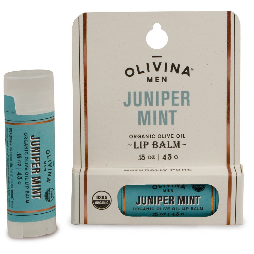 Image of Olivina Men Juniper Mint Organic Lip Balm - 0.15oz