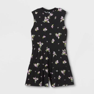 Girls' Floral High Neck Sleeveless Romper - art class™