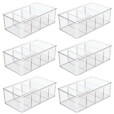 mDesign Plastic Kitchen Pantry Food Storage Organizer Bin, 6 Pack - Clear