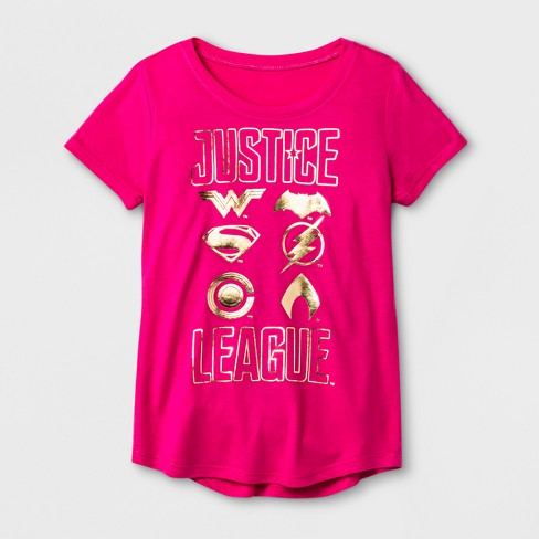 Girls' DC Comics Justice League Graphic Short Sleeve T-Shirt - Fuchsia - image 1 of 1