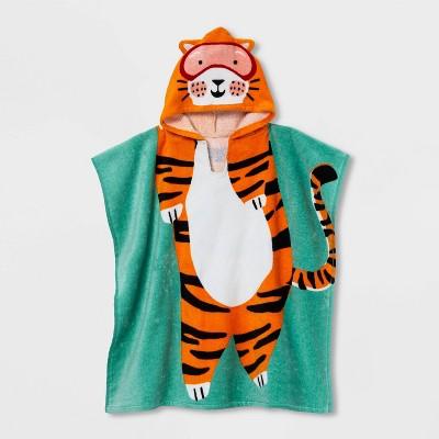 Tiger Kids' Hooded Towel Green - Sun Squad™