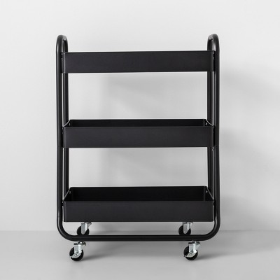 Wide Metal Cart With Wheels Black - Made By Design™