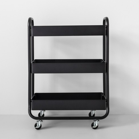 Wide Metal Cart With Wheels Black - Made By Design™ - image 1 of 4