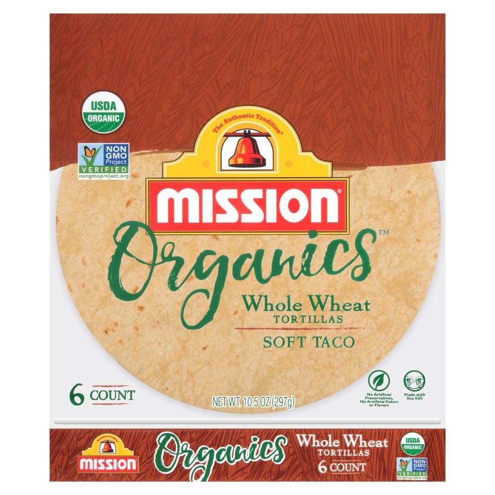 Mission Organics Whole Wheat Tortillas Soft Taco - 6ct