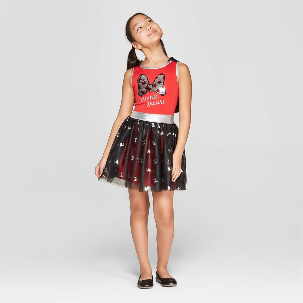 Girls' Minnie Mouse Bows Flip Sequin Tank Dress - Red/Black Xxl