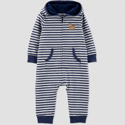 Baby Boys' 1pc French Terry Stripe Bear Hood Jumpsuit - Just One You® made by carter's Blue 3M