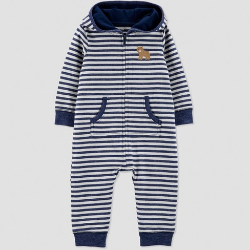 ebb432ff368 Baby Boys  1pc French Terry Stripe Bear Hood Jumpsuit - Just One You® made  by carter s Blue