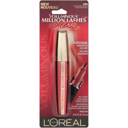 26979cff17b L'Oreal Paris Voluminous Million Lashes Excess 459 Blackest Black .3 Fl Oz  : Target