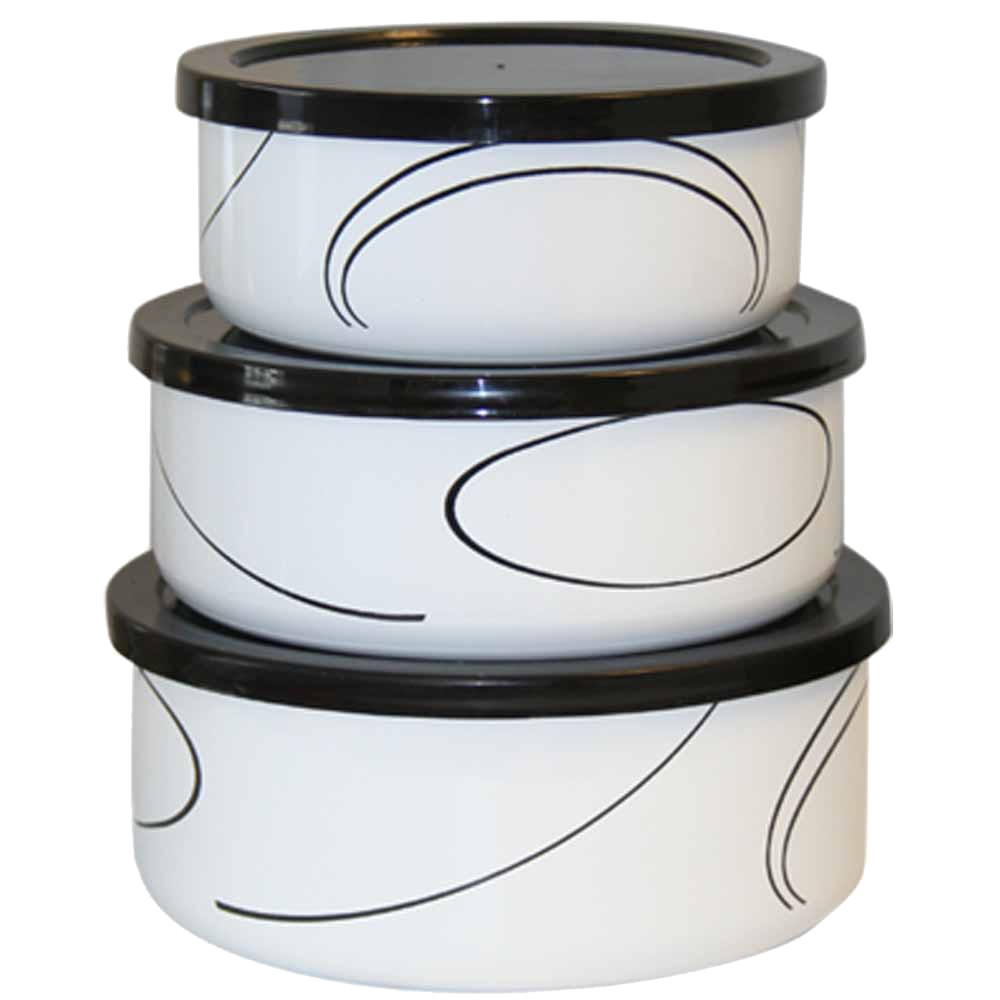 Image of Corelle 6 Piece Enameled Bowl Set - Simple Lines, White/Black
