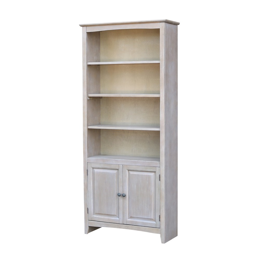 72 Shaker Bookcase with Two Lower Doors Washed Gray Taupe - International Concepts