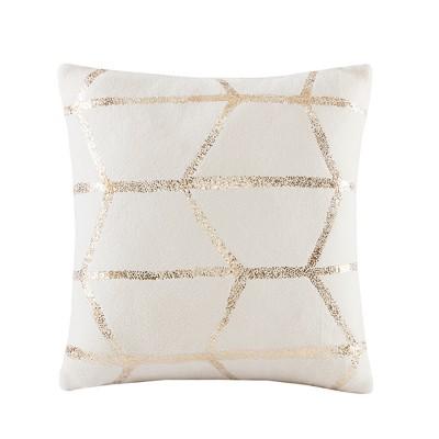 18 x18  Arielle Metallic Print Throw Pillow Ivory
