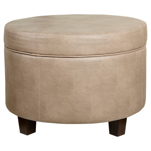 Round Faux Leather Ottoman - Taupe - Homepop - image 1 of 6