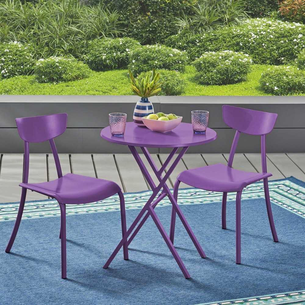 Image of Taro 3pc Patio Bistro Set - Matte Purple - Christopher Knight Home