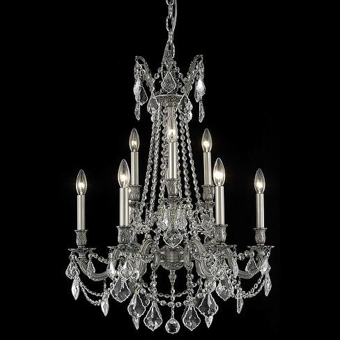 Elegant Lighting 9209d23pw Rosalia 9 Light Two Tier Crystal Chande