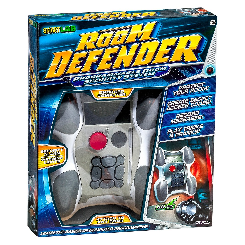 SmartLab Toys Room Defender Electronic Science Kit Room Defender. This programmable room security system stops intruders in their tracks! Kids learn basic computer programming skills as they record messages, create unlimited programs, and warn trespassers (like their little brother or sister!) to Keep Out! Programmers grant access to their room by giving their friends and family secret codes and key cards. Room Defender will even tell them if an unauthorized visitor entered their room while they were away. Sirens, lights, and sound effects add to the fun! The universal mount attaches to any bedroom door. Components: programmable door alarm, door bracket , 3 key cards, 24-page book. stem focus: Technology.