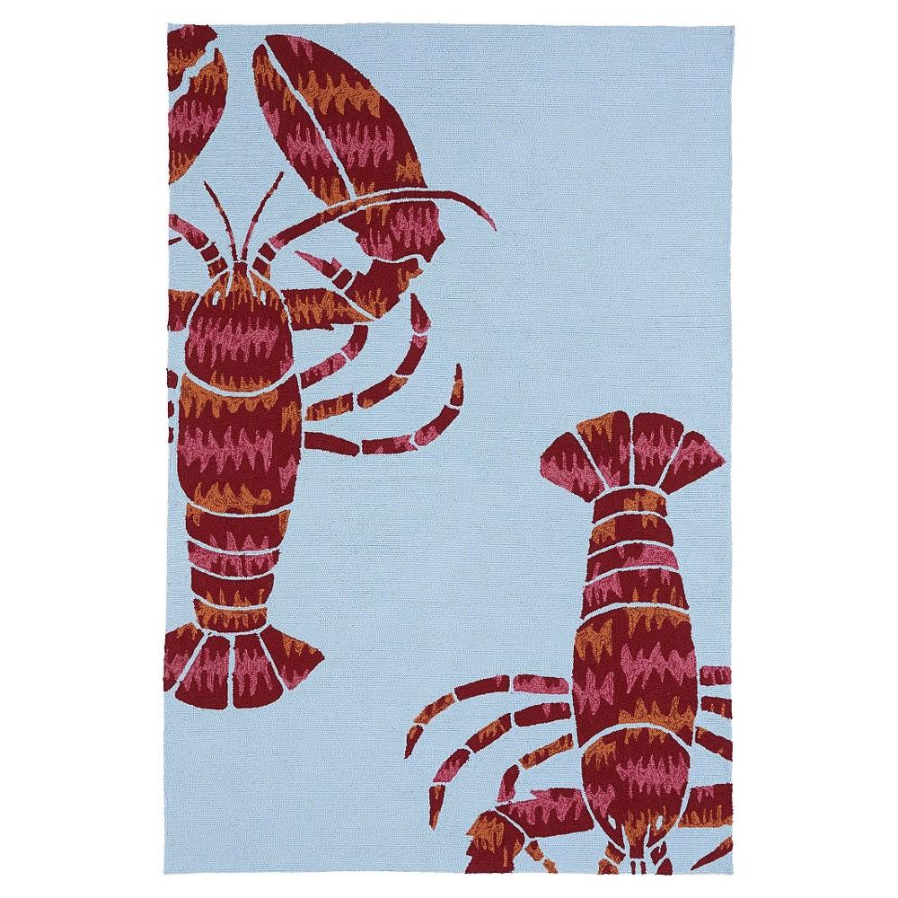 Kaleen Rugs Matira Lobster Indoor/Outdoor Area Rug Blue 7'6x9', Light Sky Blue