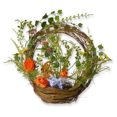 "Artificial Spring Ring Basket Orange 16"" - National Tree Company"
