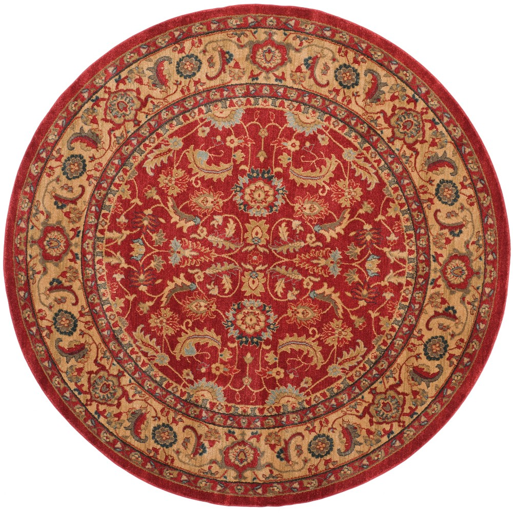 6 7 Floral Round Area Rug Red Natural Safavieh